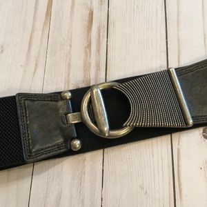 Accessories - Trendy Wide Silver and Black Stretch Belt